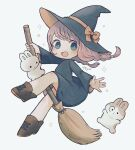 1girl ankle_boots ayu_(mog) black_dress black_eyes blush boots bow braid bright_pupils broom broom_riding brown_footwear commentary dress falling hat hat_bow long_sleeves open_mouth orange_bow original pink_hair rabbit short_dress signature solo sparkle star_(symbol) twin_braids twintails white_background white_pupils witch witch_hat