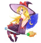 1girl :d backless_dress backless_outfit black_dress black_footwear blonde_hair bow broom broom_riding dokidoki!_precure dress elbow_gloves floating_hair from_behind full_body gloves hat hat_bow layered_dress long_hair open_mouth precure purple_dress purple_gloves purple_headwear purple_legwear red_bow regina_(dokidoki!_precure) shiny shiny_hair short_dress simple_background sleeveless sleeveless_dress smile solo tuqi_pix very_long_hair violet_eyes white_background witch_hat
