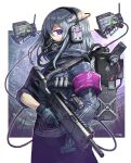 1girl armband backpack bag bangs blue_gloves border commentary_request cowboy_shot gas_mask gia gloves grey_hair gun headset highres holding holding_gun holding_weapon looking_at_viewer mask medium_hair mouth_mask multicolored multicolored_eyes original outside_border profile robot solo trigger_discipline violet_eyes weapon white_border