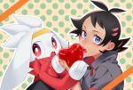 0_8_5_ohako 1boy antenna_hair apple bangs black_hair blue_eyes commentary_request eating eyelashes fingernails food fruit gen_8_pokemon goh_(pokemon) holding holding_food holding_fruit looking_to_the_side open_mouth outline pokemon pokemon_(anime) pokemon_(creature) pokemon_swsh_(anime) polka_dot polka_dot_background popped_collar raboot teeth tongue wet