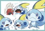 >_< :< artist_name closed_mouth commentary_request crying flying_sweatdrops gen_8_pokemon highres koke_ojisan no_humans open_mouth pokemon pokemon_(creature) raboot sobble starter_pokemon tears tongue trembling watermark watery_eyes wavy_mouth