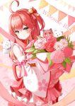 1girl 35p_(sakura_miko) absurdres ahoge bouquet cat cherry_blossom_print detached_sleeves english_text floral_print flower hair_ornament hairclip highres hololive kintoki_(sakura_miko) leaf nyan_(reinyan_007) parted_lips sakura_miko string_of_flags virtual_youtuber x_hair_ornament