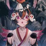1girl :o absurdres animal_ears arm_guards bangs betabeet black_hair black_nails brown_eyes collarbone commentary erune eyebrows_visible_through_hair fang ghost ghost_pose granblue_fantasy hair_between_eyes hands_up highres japanese_clothes kimono looking_at_viewer multicolored_hair nail_polish open_mouth short_hair snow solo streaked_hair tail tail_raised tree triangular_headpiece upper_body violet_eyes white_kimono you_(granblue_fantasy)