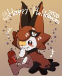 ao_anpk blush brown_eyes commentary_request cosplay dated full_body gen_8_pokemon hand_to_own_mouth happy_halloween highres nickit nickit_(cosplay) no_humans pokemon pokemon_(creature) scorbunny sitting smile solo star_(symbol) teeth