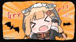 >_< 1girl bat black_ribbon black_scarf blonde_hair blush commentary_request emphasis_lines facing_viewer fang gloves hair_flaps hair_ornament hair_ribbon hairclip kantai_collection long_hair orange_background paw_gloves paws poipoi_purin remodel_(kantai_collection) ribbon scarf solo twitter_username upper_body wolf_hood yuudachi_(kantai_collection)