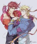 2boys asymmetrical_hair bangle battle_tendency blonde_hair blue_eyes blue_jacket bracelet brown_hair caesar_anthonio_zeppeli closed_mouth collarbone commentary cowboy_shot dated eyebrows_behind_hair facial_mark feather_hair_ornament fingerless_gloves gloves green_eyes headband highres jacket jewelry jojo_no_kimyou_na_bouken joseph_joestar_(young) light_smile looking_at_viewer male_focus multiple_boys one_eye_closed pants red_jacket ring sashiyu short_hair signature simple_background sleeves_folded_up thumb_ring torn_clothes torn_pants