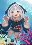 1girl :d animal_hood atora bangs blue_eyes blue_hair blue_hoodie blue_nails blurry blurry_foreground claw_pose commentary_request coral day depth_of_field drawstring gawr_gura hands_up highres hololive hololive_english hood hood_up hoodie long_sleeves looking_at_viewer multicolored_hair nail_polish ocean open_mouth outdoors shark_hood sharp_teeth shoes smile solo streaked_hair teeth underwater virtual_youtuber water white_footwear white_hair wide_sleeves