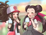 2girls :d bag baseball_cap black_dress black_vest black_wristband brown_hair bush casteliacone closed_eyes commentary dress english_commentary eyelashes fingernails hair_ribbon hand_on_own_cheek hands_up hat high_ponytail hilda_(pokemon) holding long_hair mono_land multiple_girls open_mouth pink_bag pink_neckwear pink_ribbon pokemon pokemon_(game) pokemon_bw pokemon_masters_ex pokemon_oras ribbon roxanne_(pokemon) shirt short_sleeves shoulder_bag sidelocks sleeveless sleeveless_shirt smile tongue twintails two-tone_headwear vest white_shirt wristband