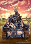 3girls black_hair blonde_hair blue_eyes breasts brown_eyes brown_hair caterpillar_tracks clouds drill_hair english_commentary evening gloves grass grey_eyes ground_vehicle hair_ribbon hat headphones highres hill long_hair medium_breasts military military_hat military_uniform military_vehicle motor_vehicle multiple_girls original ribbon senjou_no_valkyria senjou_no_valkyria_1 sitting smile sunlight tank tank_top tree twintails uniform white_namikaze wind wind_lift