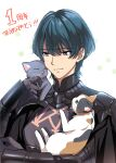 1boy animal armor blue_eyes blue_hair blush byleth_(fire_emblem) byleth_(fire_emblem)_(male) cat eyebrows_visible_through_hair fire_emblem fire_emblem:_three_houses gauntlets grey_cat hair_between_eyes heart highres holding holding_animal holding_cat misu_kasumi shadow short_hair simple_background solo upper_body white_background