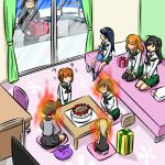 aura balcony bangs bed bedroom birthday birthday_cake black_ribbon box brown_eyes brown_hair cake curtains desk food gift gift_box girls_und_panzer hair_ribbon happy_birthday indoors itsumi_erika kogane_(staygold) light_brown_hair long_hair long_sleeves lowres multiple_girls nishizumi_maho nishizumi_miho nishizumi_shiho on_bed pillow reizei_mako ribbon seiza shaded_face shimada_arisu shirt short_hair sitting skirt sliding_doors takebe_saori