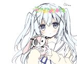 1girl bangs blue_eyes blue_flower blue_hair blue_ribbon blush brown_cardigan cardigan character_name closed_mouth eyebrows_visible_through_hair flower flower_wreath gochuumon_wa_usagi_desu_ka? hair_between_eyes hair_ornament hands_up head_wreath holding holding_stuffed_toy kafuu_chino long_hair long_sleeves looking_at_viewer neck_ribbon open_cardigan open_clothes pink_flower purinko purple_flower ribbon sailor_collar school_uniform serafuku shirt simple_background sleeves_past_wrists solo stuffed_animal stuffed_bunny stuffed_toy two_side_up upper_body white_background white_flower white_sailor_collar white_shirt x_hair_ornament yellow_flower