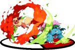 black_eyes fire flareon fur gen_1_pokemon leaf lowres no_humans open_mouth pixel_art poke_ball_symbol pokemon pokemon_(creature) red_eyes sharp_teeth simple_background teeth venusaur warabin_(suteki_denpun) white_background