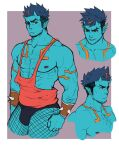 1boy abs bara bare_arms bare_chest blue_oni blue_skin bracelet bulge chest chest_hair cropped_legs cropped_torso earrings facial_hair fishnet_legwear fishnets hairy horns jasdavi jewelry male_focus multicolored_hair multiple_views muscle nipples oni oni_horns orange_eyes orange_hair orange_tank_top original oskar_(jasdavi) pointy_ears red_eyes short_hair sideburns spiked_bracelet spikes streaked_hair stubble tank_top thick_thighs thighs