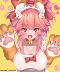 1girl absurdres animal_ear_fluff animal_ears apron bangs bell bell_collar blush breasts collar fate/extra fate/grand_order fate_(series) fox_ears fox_girl fox_tail gloves highres kamehito long_hair naked_apron paw_gloves paws pink_hair tail tamamo_(fate)_(all) tamamo_cat_(fate) yellow_eyes