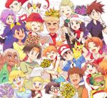 6+boys 6+girls :t ahoge ash_ketchum bangs baseball_cap beanie black_hair black_shirt blonde_hair blue_eyes blue_jacket bonnie_(pokemon) book brock_(pokemon) brother_and_sister brown_eyes brown_hair bulbasaur cilan_(pokemon) clemont_(pokemon) closed_eyes closed_mouth collarbone collared_shirt commentary_request dark_skin dawn_(pokemon) delia_ketchum earrings eyebrows_visible_through_hair eyelashes fanny_pack flower gary_oak gen_1_pokemon glasses green_eyes hair_tie hat headband holding holding_book holding_pokemon index_finger_raised iris_(pokemon) jacket james_(pokemon) jessie_(pokemon) jewelry jumpsuit labcoat long_hair looking_at_viewer looking_up max_(pokemon) may_(pokemon) meowth misty_(pokemon) mother_and_son multiple_boys multiple_girls open_mouth orange_hair orange_headband pikachu pokemon pokemon_(anime) pokemon_(classic_anime) pokemon_(creature) pokemon_bw_(anime) pokemon_dppt_(anime) pokemon_rse_(anime) pokemon_xy_(anime) purple_flower purple_hair red_bandana red_eyes red_headwear red_shirt redhead samson_oak samuel_oak sasairebun serena_(pokemon) shirt short_hair short_sleeves shorts siblings side_ponytail smile spiky_hair suspenders tank_top team_rocket team_rocket_uniform teeth tied_hair tongue tracey_sketchit violet_eyes waving white_headwear white_shorts yellow_tank_top