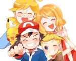 2boys 2girls ash_ketchum bangs baseball_cap blonde_hair blue_eyes blush bonnie_(pokemon) clemont_(pokemon) closed_eyes commentary_request eyebrows_visible_through_hair eyelashes fingerless_gloves gen_1_pokemon glasses gloves hat long_sleeves multiple_boys multiple_girls one_eye_closed open_mouth pikachu pokemon pokemon_(anime) pokemon_xy_(anime) red_headwear sasairebun serena_(pokemon) shiny shiny_hair short_hair sketch smile teeth tongue waving white_background