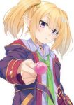 1girl bangs blonde_hair blush candy chloe_(princess_connect!) closed_mouth collared_shirt commentary_request eyebrows_visible_through_hair food food_in_mouth green_neckwear grey_shirt hair_between_eyes holding holding_candy holding_food holding_lollipop hood hood_down hooded_jacket jacket lollipop long_sleeves looking_at_viewer miri_(ago550421) mouth_hold necktie off_shoulder open_clothes open_jacket princess_connect! princess_connect!_re:dive purple_jacket shirt signature simple_background solo twintails upper_body violet_eyes white_background