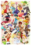 >_< 6+boys 6+girls alolan_form alolan_vulpix arms_up ash_ketchum axew bangs beanie bike_shorts black_gloves black_legwear black_pants black_shirt black_vest blonde_hair blue_eyes blush blush_stickers bonnie_(pokemon) braid braixen brock_(pokemon) capri_pants cilan_(pokemon) clemont_(pokemon) closed_eyes collared_shirt commentary_request cosmog croagunk crop_top dark_skin dark_skinned_male dawn_(pokemon) earrings fanny_pack flower gary_oak gen_1_pokemon gen_2_pokemon gen_3_pokemon gen_4_pokemon gen_5_pokemon gen_6_pokemon gen_7_pokemon glasses gloves green_eyes green_hair green_shirt hair_flower hair_ornament hand_up hat highres holding holding_flower holding_pokemon iris_(pokemon) james_(pokemon) jessie_(pokemon) jewelry jumpsuit kiawe_(pokemon) lana_(pokemon) legendary_pokemon lillie_(pokemon) long_hair long_sleeves mallow_(pokemon) max_(pokemon) may_(pokemon) mechanical_arm meowth misty_(pokemon) multiple_boys multiple_girls on_head on_lap on_shoulder one_eye_closed open_mouth orange_hair pansage pants pikachu pink_flower piplup pleated_skirt pokemon pokemon_(anime) pokemon_(classic_anime) pokemon_(creature) pokemon_bw_(anime) pokemon_dppt_(anime) pokemon_on_head pokemon_on_lap pokemon_on_shoulder pokemon_rse_(anime) pokemon_sm_(anime) pokemon_xy_(anime) ponytail popplio purple_hair purple_pants purple_wristband ralts red_bandana redhead rotom rotom_dex sasairebun serena_(pokemon) shirt short_sleeves skirt smile sophocles_(pokemon) starter_pokemon striped striped_shirt t-shirt team_rocket team_rocket_uniform teeth thigh-highs togedemaru togepi tongue tracey_sketchit twintails umbreon vest white_headwear white_shirt wobbuffet wristband zygarde zygarde_core