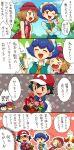 >_< 1boy 2girls :d ;d ash_ketchum bare_arms baseball_cap black_hair blue_eyes blue_hair blue_jacket blue_ribbon blush box braixen brown_eyes closed_eyes clouds commentary_request day gen_6_pokemon gift gift_box hat jacket light_brown_hair miette_(pokemon) multiple_girls one_eye_closed open_mouth outdoors outline pokemon pokemon_(anime) pokemon_(creature) pokemon_xy_(anime) polka_dot popped_collar red_eyes red_headwear ribbon sasairebun serena_(pokemon) short_hair sky smile speech_bubble tongue translation_request tree