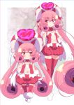 1girl bangs blush cape curly_hair eyebrows_visible_through_hair hair_between_eyes hand_on_hip hat heart highres long_hair navel neneka_(princess_connect!) pink_eyes pink_hair pointy_ears princess_connect! princess_connect!_re:dive red_eyes red_headwear red_legwear sw thigh-highs twintails very_long_hair white_footwear