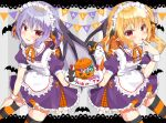 2girls alternate_costume apron bat bat_wings beni_kurage black_cat blonde_hair blue_hair blush candy cat commentary dress english_text enmaided eyebrows_visible_through_hair fang fang_out feet_out_of_frame finger_to_mouth flandre_scarlet food ghost grey_background hair_between_eyes halloween hand_on_own_thigh highres holding holding_plate jack-o'-lantern lace_border layered_skirt leaning_forward looking_at_viewer maid maid_apron maid_headdress multiple_girls neck_ribbon one_side_up orange_neckwear parted_lips plate pointy_ears purple_dress red_eyes remilia_scarlet ribbon short_hair siblings sisters skirt standing streamers striped striped_background striped_legwear thigh-highs touhou wings