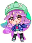 :d black_eyes black_legwear blue_jacket blush cabbie_hat chibi commentary dated english_commentary english_text gift_art green_headwear green_shirt grey_shorts happy_birthday hat heart heart_in_eye highres jacket long_sleeves looking_at_viewer multicolored multicolored_eyes open_clothes open_jacket open_mouth original pantyhose purple_hair shirt shoes shorts signature smile standing star_(symbol) star_in_eye suction_cups symbol_in_eye temachii tentacle_hair violet_eyes yellow_eyes