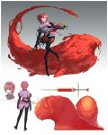 1girl absurdres black_gloves black_pants border closed_mouth crown detached_sleeves gloves gradient gradient_background grey_background highres holding jacket jaeyeong layered_sleeves long_sleeves monster pants pink_hair pink_jacket red_eyes redhead short_hair slime smile solo sword syringe weapon white_border