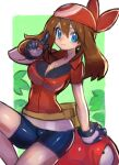 1girl arm_support bandana bike_shorts blue_eyes blush breasts brown_hair dakusuta gen_1_pokemon gloves hair_between_eyes highres holding holding_poke_ball large_breasts long_hair may_(pokemon) poke_ball pokemon pokemon_(game) shorts sitting smile solo voltorb