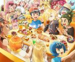6+boys 6+girls :d ahoge arm_up ash_ketchum baseball_cap bewear black-framed_eyewear black_hair blonde_hair blue_eyes blue_hair bracelet braid brown_eyes clenched_hand closed_eyes closed_mouth commentary_request drinking earrings eating eyewear_on_head fangs food gen_1_pokemon gen_6_pokemon gen_7_pokemon gladion_(pokemon) green_eyes green_hair guzma_(pokemon) hair_over_one_eye hairband hat hau_(pokemon) heart heart_eyes holding hood hood_down hoodie ilima_(pokemon) indoors james_(pokemon) jessie_(pokemon) jewelry kiawe_(pokemon) lana_(pokemon) lillie_(pokemon) long_hair long_sleeves looking_to_the_side mareanie meowth mimikyu multicolored_hair multiple_boys multiple_girls on_head open_mouth orange_hair pikachu pink_hair plate plumeria_(pokemon) pokemon pokemon_(anime) pokemon_(creature) pokemon_on_head pokemon_sm_(anime) rowlet sasairebun shiny shiny_hair shirt short_hair short_sleeves sitting slurpuff smile sophocles_(pokemon) striped striped_shirt stufful sunglasses t-shirt team_rocket team_skull_grunt teeth tongue two-tone_hair white_hair window