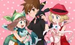 1boy 2girls bangs bare_arms black_shirt blonde_hair brown_hair commentary_request eyelashes gary_oak gen_2_pokemon gen_4_pokemon gen_6_pokemon glaceon gloves green_bandana green_eyes hat holding holding_pokemon jewelry may_(pokemon) multiple_girls necklace open_mouth pink_background pokemon pokemon_(anime) pokemon_(classic_anime) pokemon_(creature) pokemon_dppt_(anime) pokemon_on_back pokemon_xy_(anime) purple_wristband sasairebun serena_(pokemon) shirt short_hair smile spiky_hair sylveon tongue umbreon wristband