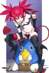 1girl arm_belt bangs bare_shoulders belt between_legs black_belt black_choker black_footwear black_gloves boots bracelet breasts choker demon_tail demon_wings disgaea earrings elbow_gloves etna eyes_visible_through_hair gloves groin hair_between_eyes hand_between_legs hand_on_hip highres jewelry looking_away looking_to_the_side makai_senki_disgaea mini_wings navel open_mouth pointy_ears pretty-purin720 prinny red_eyes red_legwear red_wings redhead short_hair short_twintails sitting skull_earrings small_breasts smile tail teeth thigh-highs thigh_boots tsurime twintails white_belt wings