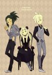 1girl 2boys alternate_costume black_choker black_dress black_footwear black_pants black_shirt blonde_hair buttons chair choker closed_mouth clothes_tug collared_shirt commentary_request copyright_name dress ear_piercing gladion_(pokemon) green_eyes green_hair grey_footwear grey_legwear grey_neckwear grey_pants grey_shirt grey_vest hair_over_one_eye hands_on_lap hau_(pokemon) lillie_(pokemon) long_hair long_sleeves multiple_boys necktie pants pantyhose piercing pokemon pokemon_(game) pokemon_sm sasairebun shirt shoes sidelocks sitting smile standing vest waving