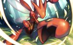 claws commentary forest gen_2_pokemon highres insect_wings iorune leaning_forward leaves_in_wind legs_apart looking_at_viewer nature no_humans orange_eyes pokemon pokemon_(creature) scizor shiny signature solo tree watermark wings