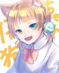 1girl absurdres animal_ear_fluff animal_ears artist_request bangs blonde_hair blunt_bangs bow bowtie cat_ears collared_shirt copyright_request green_eyes hair_bobbles hair_ornament highres long_sleeves low_twintails open_mouth orange_bow orange_neckwear portrait shirt short_hair solo thick_eyebrows twintails white_shirt