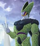1boy arm_at_side black_nails cell_(dragon_ball) clouds commentary_request dragon_ball dragon_ball_z hand_up highres looking_up male_focus muscle parted_lips perfect_cell pink_eyes rain sky solo takumi1230g teeth water wet wings