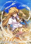 1girl action blonde_hair boots brown_hair cheetah_(kemono_friends) cheetah_ears cheetah_print cheetah_tail collared_shirt commentary_request elbow_gloves eyebrows_visible_through_hair gloves kemono_friends kemono_friends_3 long_hair multicolored_hair necktie official_art pleated_skirt print_footwear print_gloves print_legwear print_neckwear print_skirt shirt short_sleeves skirt solo tadano_magu thigh-highs white_shirt yellow_eyes zettai_ryouiki