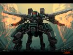 bottoms1237 extra_eyes extra_legs firing glowing glowing_eyes highres looking_up mecha missile_pod no_humans original science_fiction solo standing