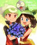1boy 1girl :d bare_arms beanie blue_eyes brendan_(pokemon) brown_hair castform commentary_request eyelashes fangs fanny_pack flower gen_3_pokemon green_bandana happy_birthday hat may_(pokemon) open_mouth pokemon pokemon_(creature) pokemon_(game) pokemon_emerald pokemon_rse purple_flower sasairebun short_sleeves smile tongue