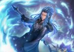 1boy black_coat_(kingdom_hearts) blue_hair cloak gloves gogo_(detteiu_de) kingdom_hearts kingdom_hearts_ii looking_at_viewer male_focus organization_xiii pointy_ears saix scar solo weapon yellow_eyes