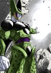 1boy black_nails cell_(dragon_ball) clenched_hand closed_mouth commentary_request dragon_ball dragon_ball_z from_below highres light_frown looking_at_viewer looking_down male_focus outstretched_arm perfect_cell pink_eyes rock solo standing studio_viga wings