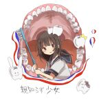 1girl black_hair blue_sailor_collar blush brown_eyes chipped_tooth holding holding_toothbrush manmi medium_hair open_mouth original red_neckwear sailor_collar school_uniform serafuku shirt short_sleeves simple_background solo teeth tongue toothbrush toothpaste translation_request white_background white_shirt
