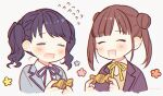 2girls bangs black_hair black_neckwear black_ribbon blazer brown_hair candy closed_eyes commentary_request double_bun flower flying_sweatdrops food fukumaru_koito grey_jacket idolmaster idolmaster_shiny_colors jacket multiple_girls neck_ribbon ribbon school_uniform shirt short_twintails sonoda_chiyoko tsuwakoha twintails upper_body white_background white_shirt yellow_neckwear yellow_ribbon