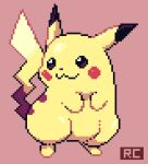 :3 artsy-rc closed_mouth commentary english_commentary full_body gen_1_pokemon highres no_humans pikachu pink_background pixel_art pixelated pokemon pokemon_(creature) signature simple_background smile solo