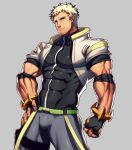 1boy bara black_gloves blonde_hair bulge chest covered_abs covered_navel facial_hair fingerless_gloves gloves gyee hand_on_hip looking_to_the_side lvlv male_focus muscle pants radian_(gyee) shirt short_hair shrug_(clothing) sideburns solo stubble taut_clothes taut_shirt thick_thighs thighs tight tight_pants tight_shirt