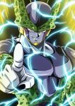 1boy black_nails cell_(dragon_ball) commentary_request dragon_ball dragon_ball_z energy glowing highres kamishima_kanon looking_at_viewer male_focus muscle parted_lips perfect_cell pink_eyes pointing smile solo teeth upper_body