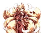 1girl alternate_color alternate_costume animal_ear_fluff animal_ears bangs blonde_hair blue_sash blush bow brown_bow brown_kimono chinese_commentary commentary_request cowboy_shot detached_sleeves eyebrows_visible_through_hair findzhenxin floral_print fluffy fox_ears fox_tail head_tilt japanese_clothes kimono kitsune large_bow large_tail long_sleeves looking_at_viewer multiple_tails no_hat no_headwear obi sash sidelocks solo tail tail_grab tail_hold touhou transparent_background wide_sleeves yakumo_ran yellow_eyes