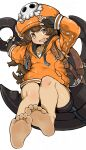 1girl absurdres anchor ass backpack bag bangs barefoot black_gloves black_shorts blush brown_eyes brown_hair collarbone eyebrows eyelashes feet fingerless_gloves foreshortening gloves greek_toe guilty_gear hat highres hood hood_down hoodie leather leather_belt legs long_hair long_sleeves looking_at_viewer may_(guilty_gear) menla open_mouth orange_headwear orange_hoodie pov pov_feet salute shirt short_shorts shorts simple_background sitting skull skull_and_crossbones skull_on_head smile soles solo swept_bangs teasing thighs toes tongue undershirt very_long_hair white_background white_shirt