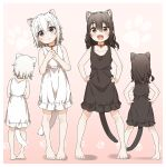 2girls :d absurdres animal_ear_fluff animal_ears bare_arms bare_shoulders barefoot bell bell_collar black_dress black_hair blush brown_collar brown_eyes cat_ears cat_girl cat_tail collar collarbone commentary_request dress facing_away frilled_dress frills hands_on_hips hands_together hands_up head_tilt highres jingle_bell long_hair looking_at_viewer multiple_girls multiple_views open_mouth original own_hands_together parted_lips red_collar shadow short_hair sleeveless sleeveless_dress smile standing tail violet_eyes white_dress white_hair yukie_(kusaka_shi)