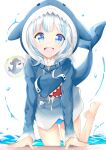 1girl :o absurdres arm_support bangs barefoot baseball_cap bikini bikini_bottom bloop_(gawr_gura) blue_bikini blue_eyes blue_hoodie blunt_bangs bubble eyebrows_visible_through_hair feet_up fish_tail gawr_gura hat highres hololive hololive_english hood hood_up hoodie in_water light_blush long_sleeves looking_at_viewer mondaze multicolored_hair open_mouth red_headwear shark shark_girl shark_tail sharp_teeth simple_background swimsuit tail teeth two-tone_hair virtual_youtuber water white_background